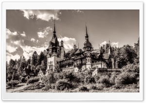Peles Castle Romania Sepia HD Wide Wallpaper for Widescreen