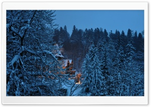 Peles Castle Romania, Winter HD Wide Wallpaper for Widescreen