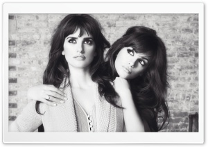 Penelope Cruz And Sister Black And White HD Wide Wallpaper for 4K UHD Widescreen desktop & smartphone