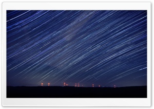 Perseids over a Wind Farm HD Wide Wallpaper for 4K UHD Widescreen desktop & smartphone