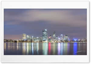 Perth by Night Panorama HD Wide Wallpaper for Widescreen