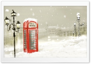 Phone Booth Winter HD Wide Wallpaper for Widescreen