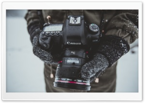 Photographer, Canon 5D Camera, Hands, Snow Falling, Winter HD Wide Wallpaper for 4K UHD Widescreen desktop & smartphone