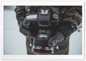 Photographer, Canon 5D Camera, Hands, Snow Falling, Winter Ultra HD Wallpaper for 4K UHD Widescreen desktop, tablet & smartphone