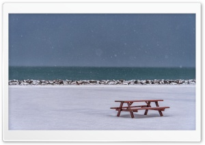 Picnic Table, Winter Snow HD Wide Wallpaper for Widescreen