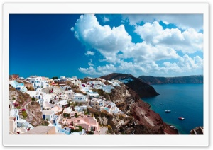 Picturesque Island Town HD Wide Wallpaper for Widescreen