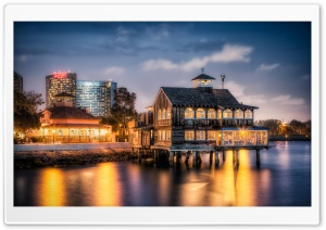Pier Cafe at Dusk HD Wide Wallpaper for 4K UHD Widescreen desktop & smartphone