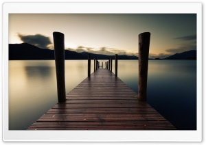 Pier Dawn Lake HD Wide Wallpaper for Widescreen