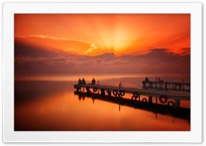 Pier, Mooring, Evening, Sunset, Clouds, Glow, People, Sea HD Wide Wallpaper for 4K UHD Widescreen desktop & smartphone