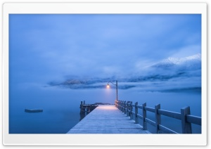 Pier, Winter Landscape HD Wide Wallpaper for 4K UHD Widescreen desktop & smartphone