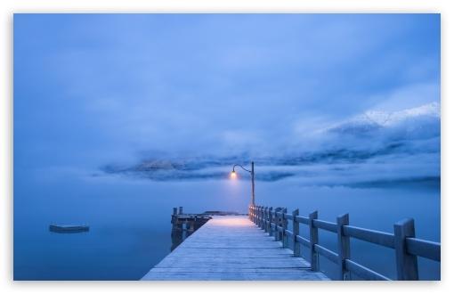 Download Pier, Winter Landscape HD Wallpaper