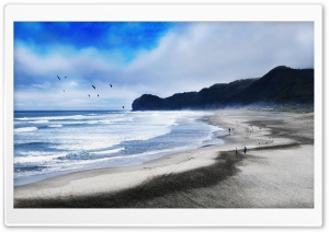 Piha Beach, New Zealand - Tranquility HD Wide Wallpaper for Widescreen