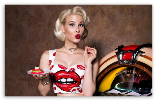 Pin Up Girl Jukebox Retro 4k Hd Desktop Wallpaper For
