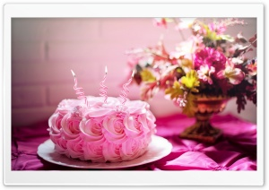 Pink Birthday Cake HD Wide Wallpaper for 4K UHD Widescreen desktop & smartphone
