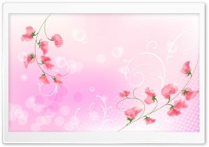 Pink Flowers Illustration HD Wide Wallpaper for Widescreen