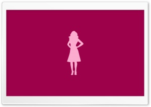 Pink Girl Silhouette HD Wide Wallpaper for Widescreen