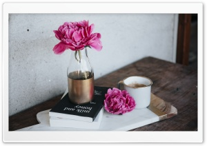 Pink Peony Flower, Books, Coffee Mug, Wooden Table HD Wide Wallpaper for 4K UHD Widescreen desktop & smartphone
