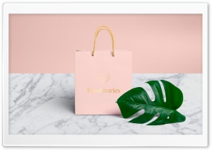 Pink Shopping Bag, Tropical Monstera Leaf, Marble Ultra HD Wallpaper for 4K UHD Widescreen desktop, tablet & smartphone
