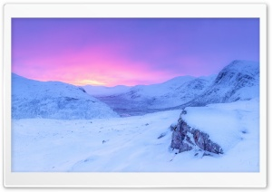 Pink Sunrise, Snowy Mountains, Winter HD Wide Wallpaper for Widescreen