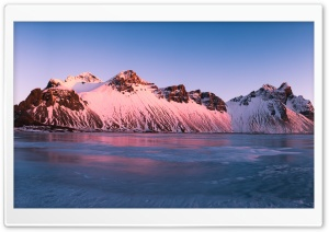 Pink Sunrise, Vestrahorn Mountains, Iceland Ultra HD Wallpaper for 4K UHD Widescreen desktop, tablet & smartphone