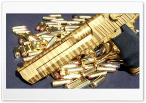 Pistol Gun Gold Ultra HD Wallpaper for 4K UHD Widescreen desktop, tablet & smartphone