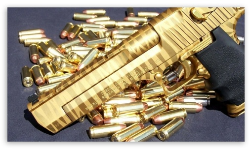 Download Pistol Gun Gold HD Wallpaper