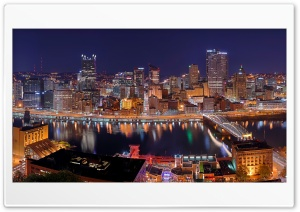 Pittsburgh City Panorama at Night Ultra HD Wallpaper for 4K UHD Widescreen desktop, tablet & smartphone