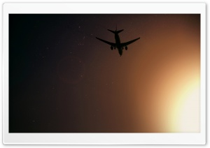 Plane Flying At Night HD Wide Wallpaper for Widescreen