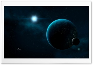 Planet And Moon In Space HD Wide Wallpaper for 4K UHD Widescreen desktop & smartphone