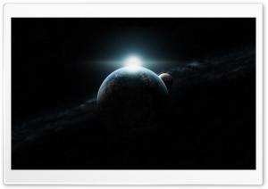 Planet With Sunrise And Moon In Space HD Wide Wallpaper for Widescreen
