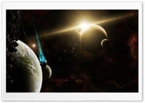 Planets And Asteroids HD Wide Wallpaper for Widescreen