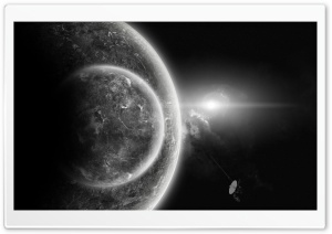 Planets In Black And White HD Wide Wallpaper for Widescreen
