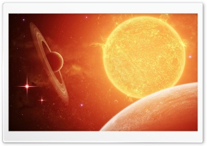 Planets Prbiting Around A Bright Star HD Wide Wallpaper for Widescreen
