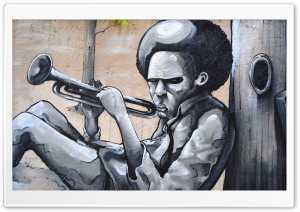 Playing A Trumpet Graffiti HD Wide Wallpaper for 4K UHD Widescreen desktop & smartphone