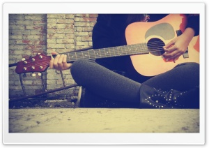Playing Guitar On The Street HD Wide Wallpaper for Widescreen