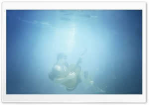 Playing Guitar Underwater HD Wide Wallpaper for Widescreen