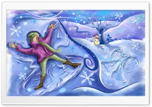 Playing In The Snow Christmas HD Wide Wallpaper for Widescreen