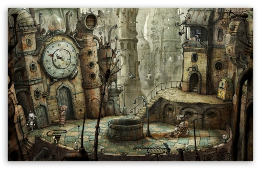 Plaza, Machinarium Game HD wallpaper for Standard 4:3 5:4 Fullscreen UXGA XGA SVGA QSXGA SXGA ; Wide 16:10 5:3 Widescreen WHXGA WQXGA WUXGA WXGA WGA ; HD 16:9 High Definition WQHD QWXGA 1080p 900p 720p QHD nHD ; Other 3:2 DVGA HVGA HQVGA devices ( Apple PowerBook G4 iPhone 4 3G 3GS iPod Touch ) ; Mobile VGA WVGA iPhone iPad PSP Phone - VGA QVGA Smartphone ( PocketPC GPS iPod Zune BlackBerry HTC Samsung LG Nokia Eten Asus ) WVGA WQVGA Smartphone ( HTC Samsung Sony Ericsson LG Vertu MIO ) HVGA Smartphone ( Apple iPhone iPod BlackBerry HTC Samsung Nokia ) Sony PSP Zune HD Zen ; Tablet 2 ;