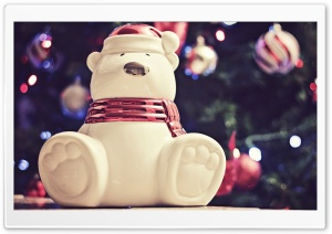 Polar Bear Christmas Decoration HD Wide Wallpaper for Widescreen