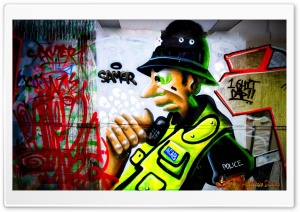 Police Graffiti HD Wide Wallpaper for 4K UHD Widescreen desktop & smartphone
