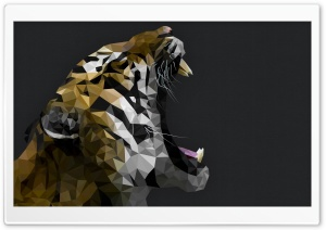 Polygon Tiger HD Wide Wallpaper for Widescreen