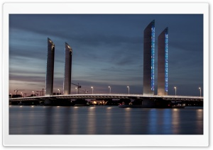 Pont Jacques Chaban Delmas Bridge, Bordeaux, France HD Wide Wallpaper for Widescreen