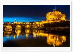 Ponte Sant Angelo, Castel Sant Angelo, Rome, Italy HD Wide Wallpaper for Widescreen