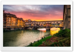 Ponte Vecchio arch bridge, Florence, Italy HD Wide Wallpaper for Widescreen