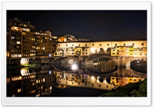 Ponte Vecchio at night, Florence, Italy HD Wide Wallpaper for Widescreen