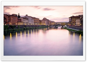 Ponte Vecchio at sunset, Florence HD Wide Wallpaper for Widescreen