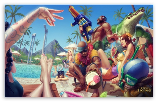 Pool Party League Of Legends Ultra Hd Desktop Background