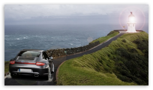 Porsche Lighthouse HD wallpaper for HD 16:9 High Definition WQHD QWXGA 1080p 900p 720p QHD nHD ; Mobile 16:9 - WQHD QWXGA 1080p 900p 720p QHD nHD ;