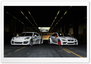 Porsche Panamera and BMW M3 HD Wide Wallpaper for Widescreen