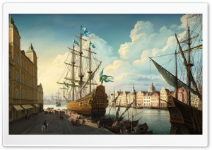 Port Painting HD Wide Wallpaper for Widescreen
